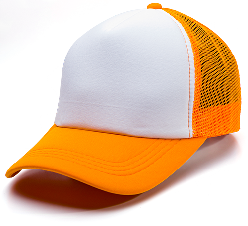 GORRA ORANGE Y BLANCA  MALLA SUBLIMABLES NO.10 (trucker)